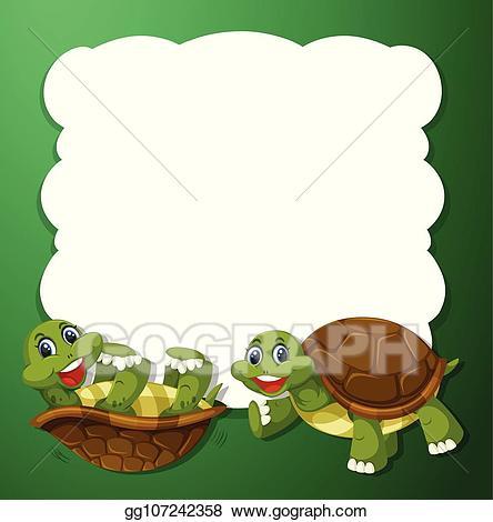 Clipart turtle frame. Vector illustration green concept