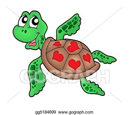 Stock illustrations little sea. Clipart turtle heart