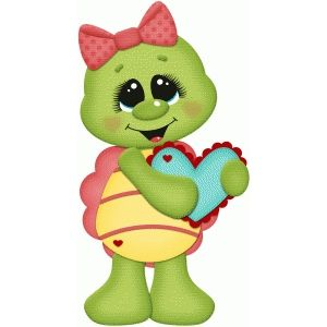 Clipart turtle heart. Valentine holding paper piecing