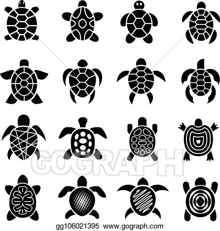 Clipart turtle logo. Vector stock top view