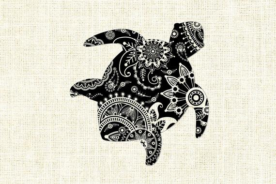 Clipart turtle mandala. Svg zentagle silhouette cricut