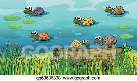 Clipart turtle river turtle. Eps illustration a group