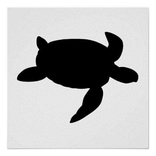 Sea posters panda free. Clipart turtle silhouette