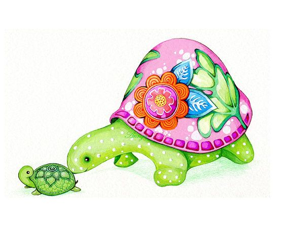 Mom and baby pink. Clipart turtle spring