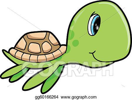Clipart turtle summer. Eps vector cute happy