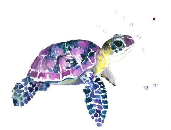 Clipart turtle watercolor. Green and purple tattoos