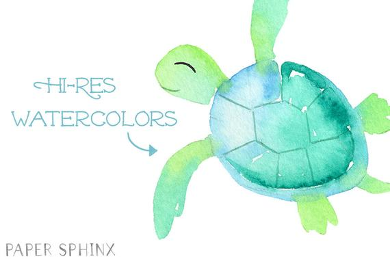 Clipart turtle watercolor. Sea baby art blue