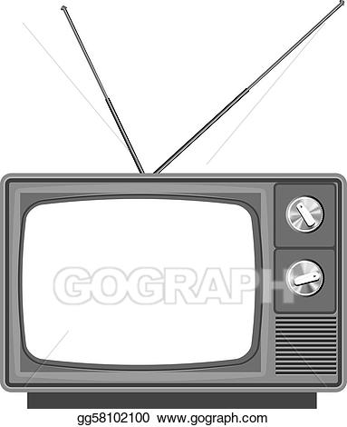 Vector stock old with. Television clipart blank tv