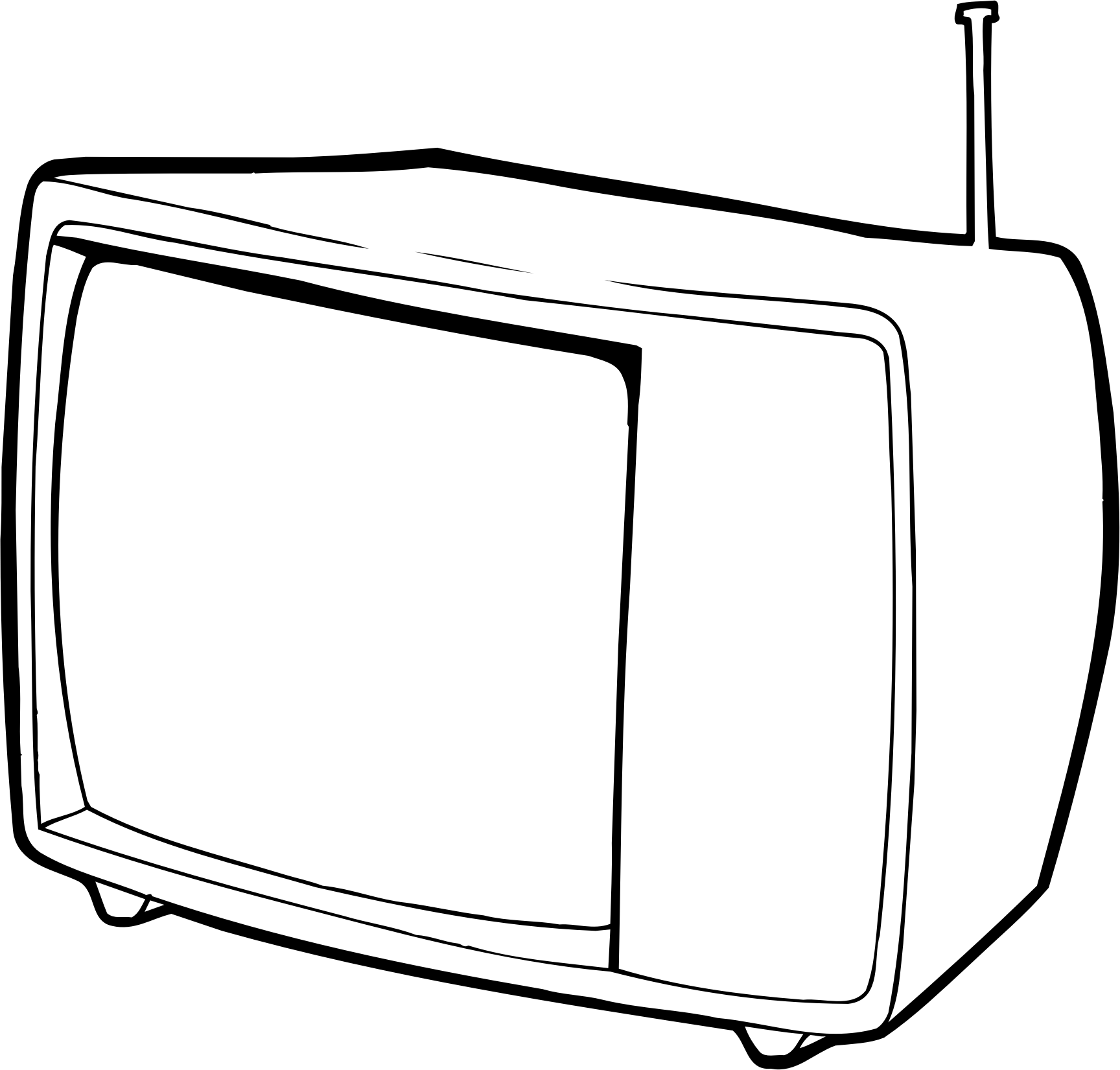 Tv black and white. Square clipart television