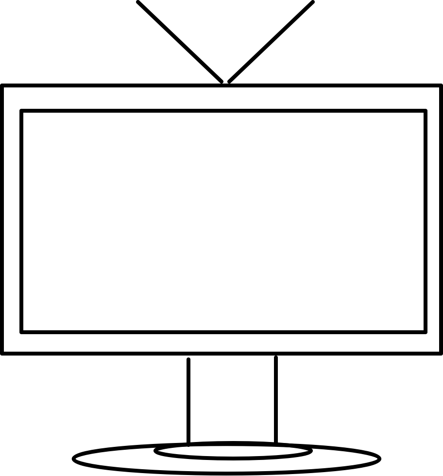 Clipart tv blank tv. Black and white clip