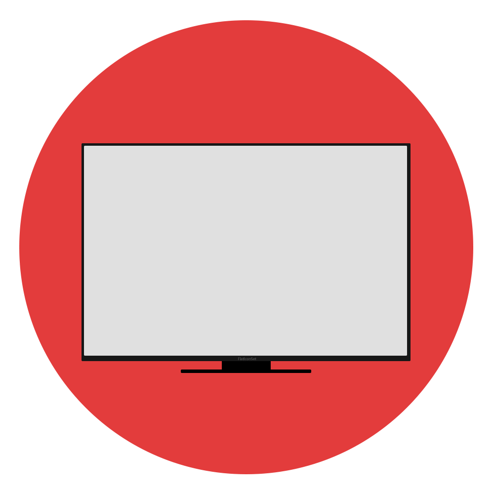 Clipart tv broken tv. Flat designed circle icon