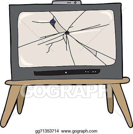 Vector television illustration . Clipart tv broken tv