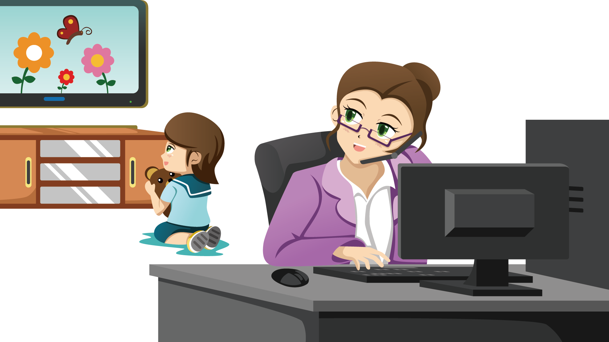 Working parent clip art. Mother clipart work at home
