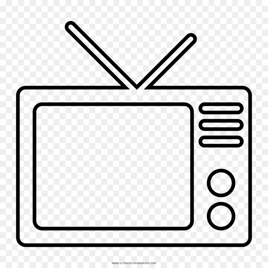 Clipart tv coloring book. Black and white television