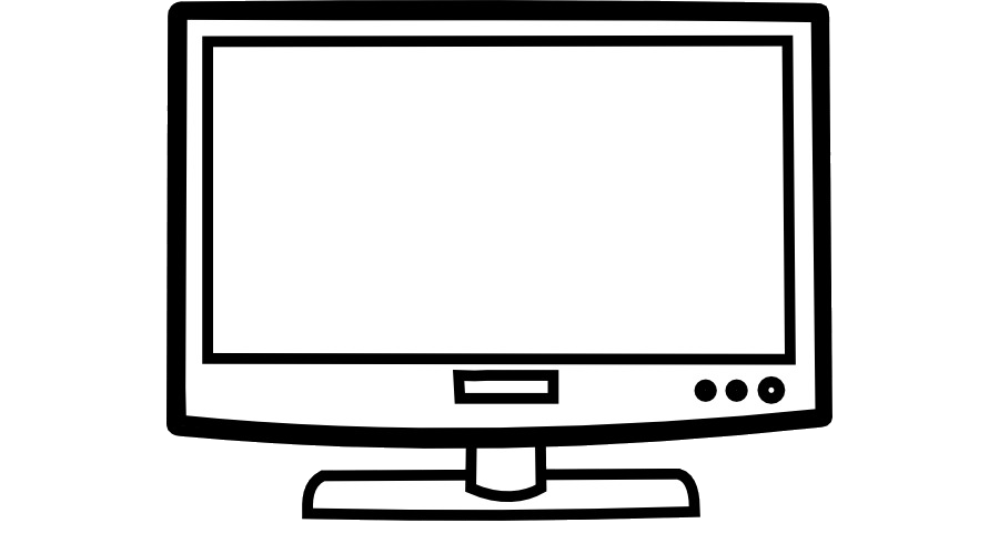 Television black and white. Clipart tv coloring book