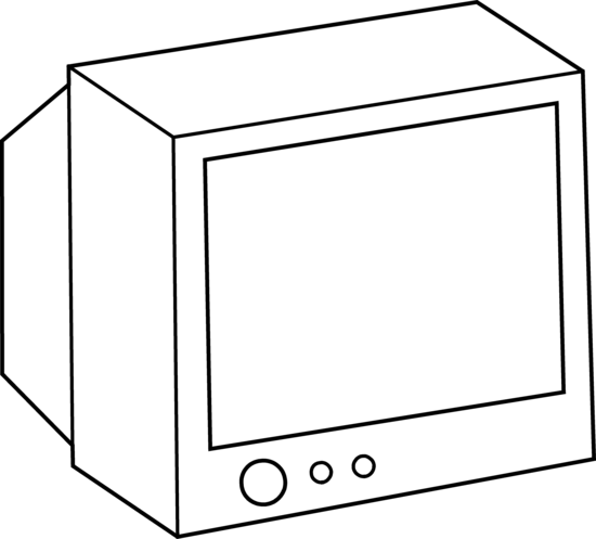 Coloring page free clip. Television clipart simple