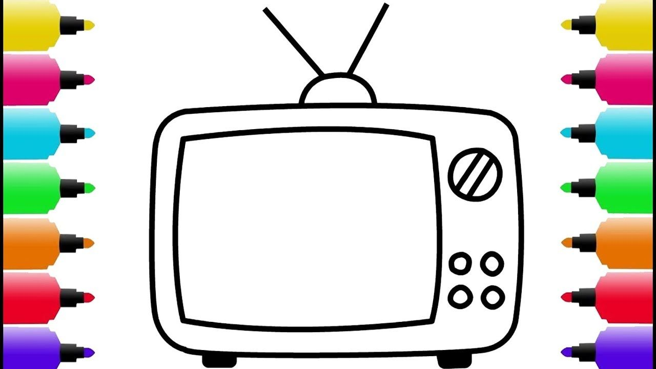 Television clipart colouring page. How to draw and