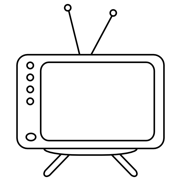 Television clipart colouring page. Book black and white