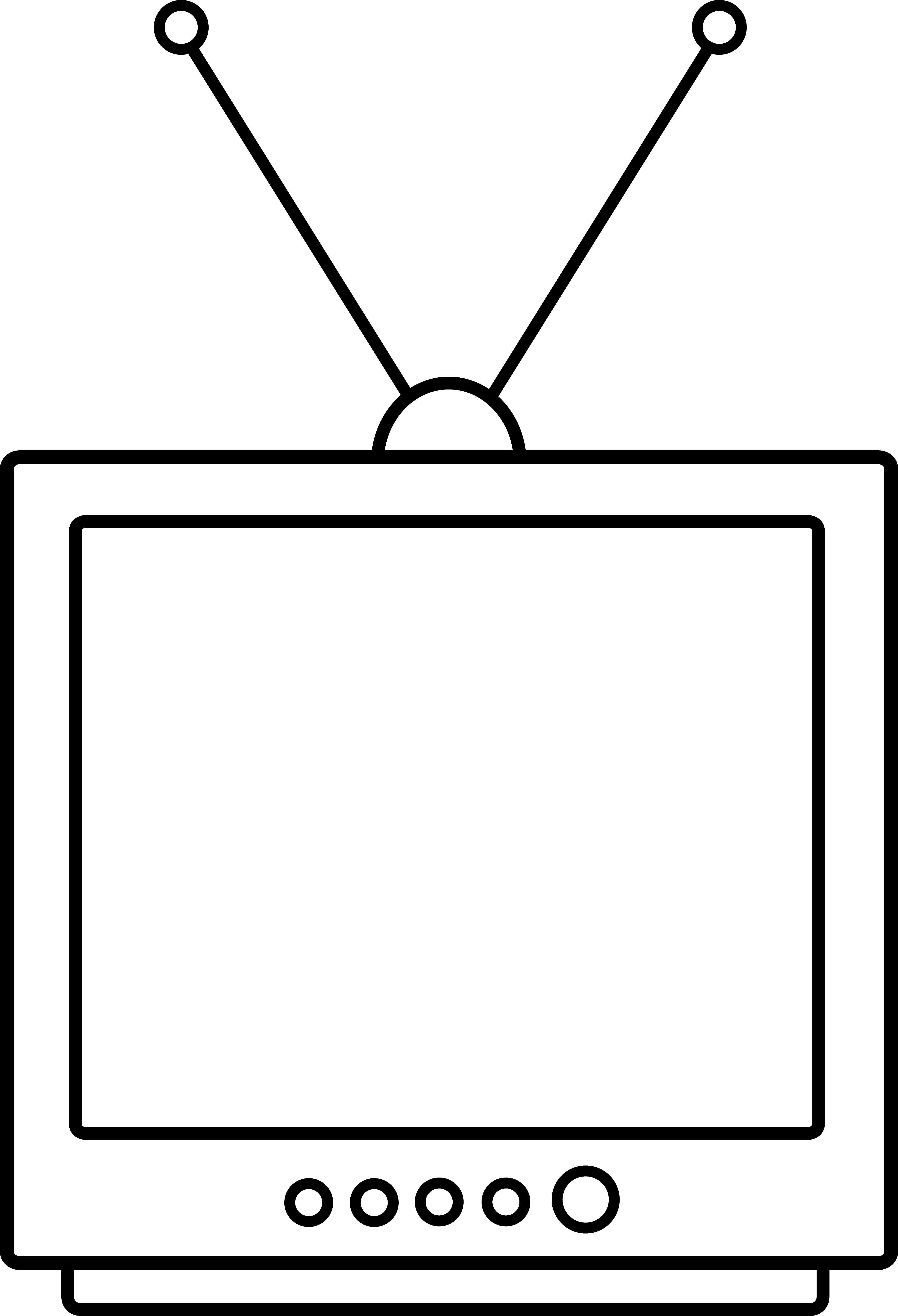 Simple television lineart free. Clipart tv drawing