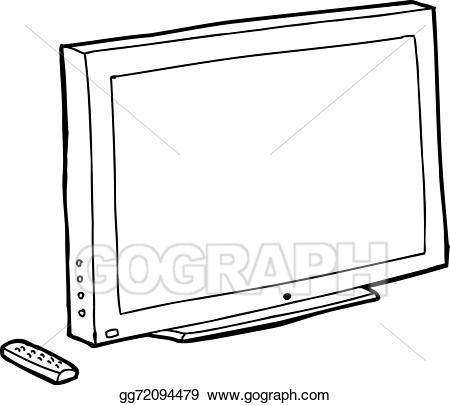 Vector art outline black. Clipart tv drawing