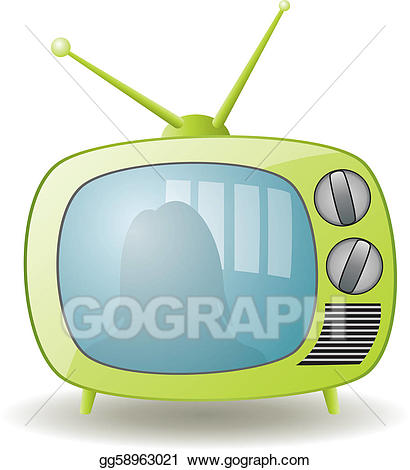 Eps illustration retro tv. Television clipart green