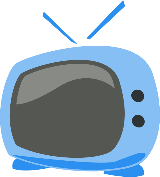Blue cartoon clip art. Clipart tv large