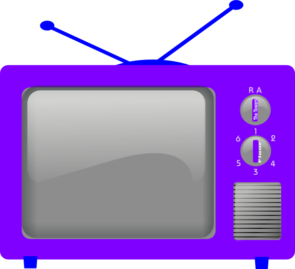 Blue television clip at. Clipart tv line art