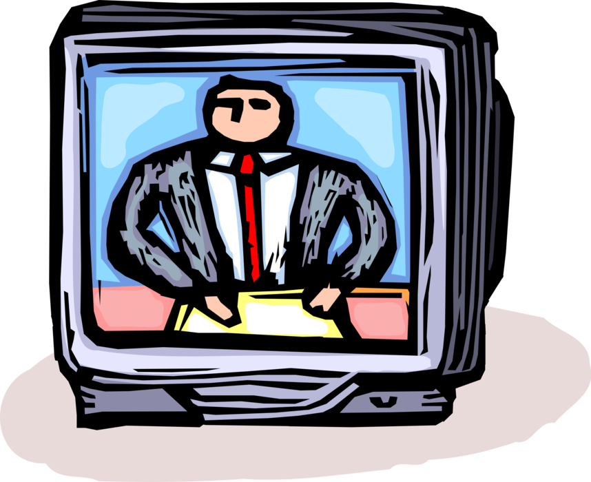 Anchorman reads world vector. News clipart television news