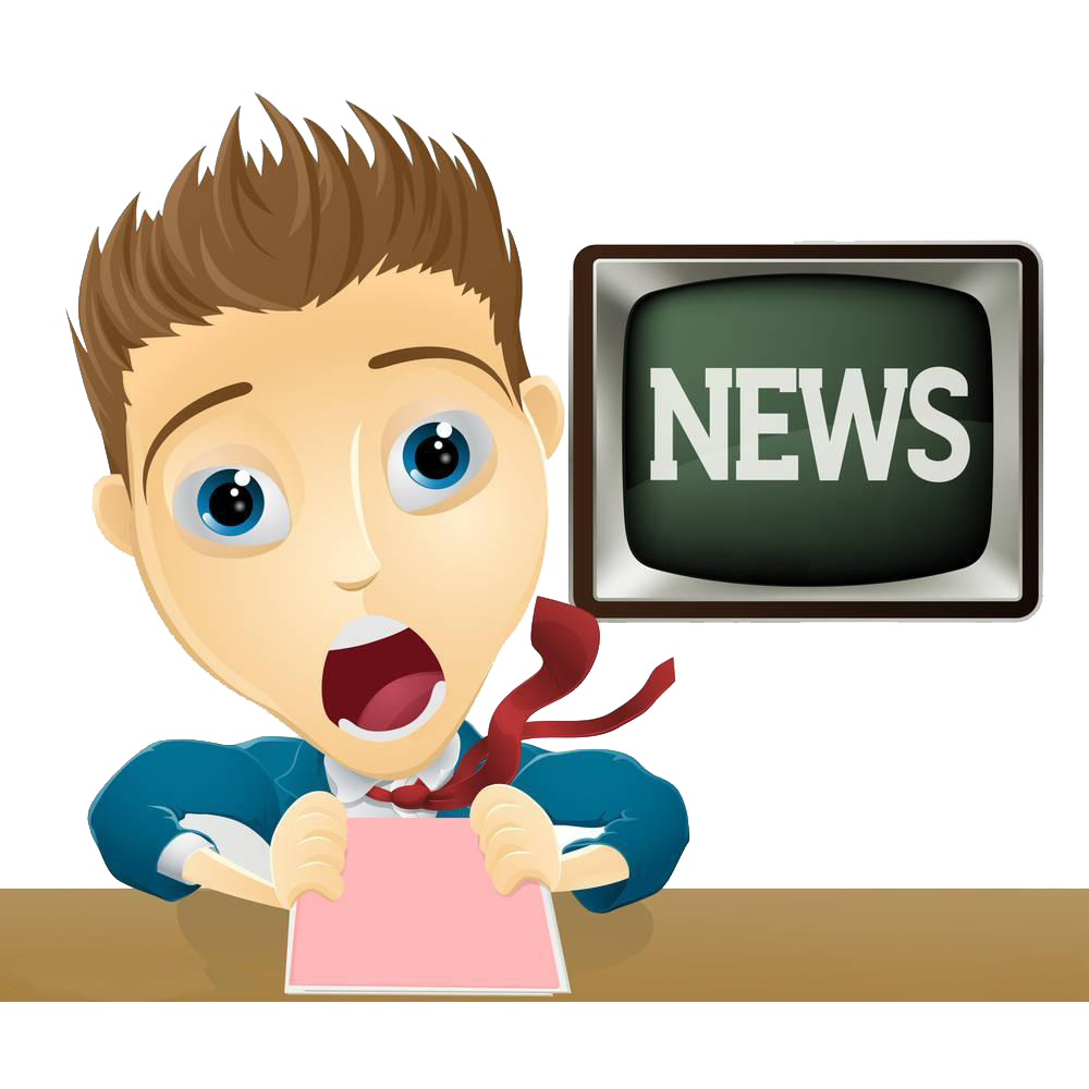 Television cartoon illustration announcer. News clipart tv presenter