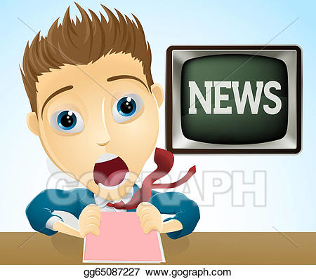 Vector art shocked drawing. Clipart tv news presenter