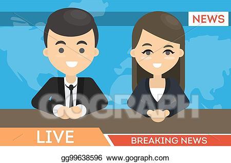 Clipart tv news presenter. Vector art on eps