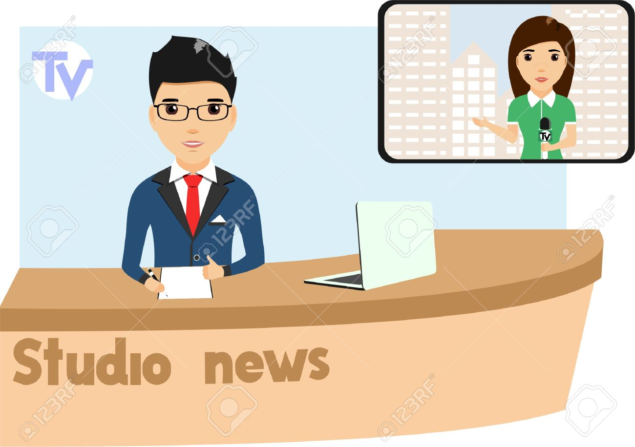 Clipart tv news presenter. In the studio with