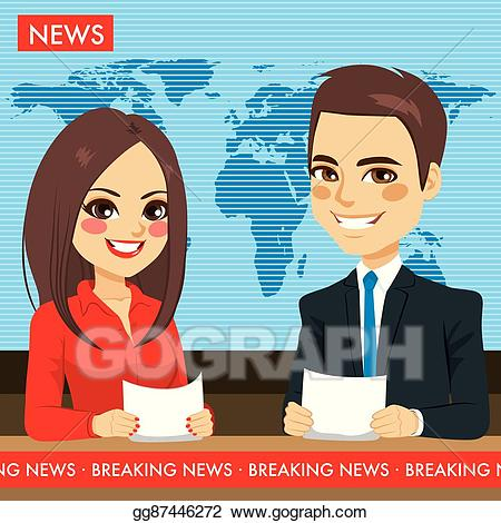 Television clipart tv news. Vector stock newscasters illustration