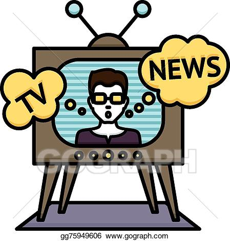 Eps illustration tv poster. News clipart television news