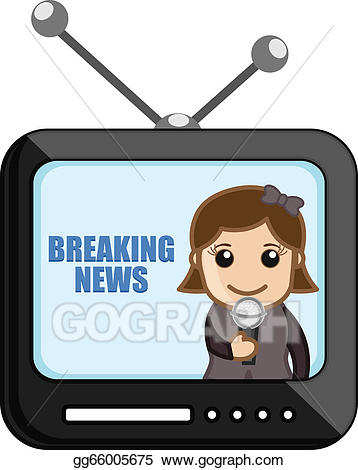 News clipart television news. Vector reporter over tv