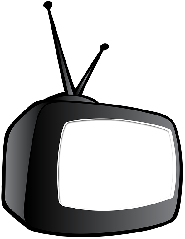 Clipart tv old technology. Cartoon with knockout screen