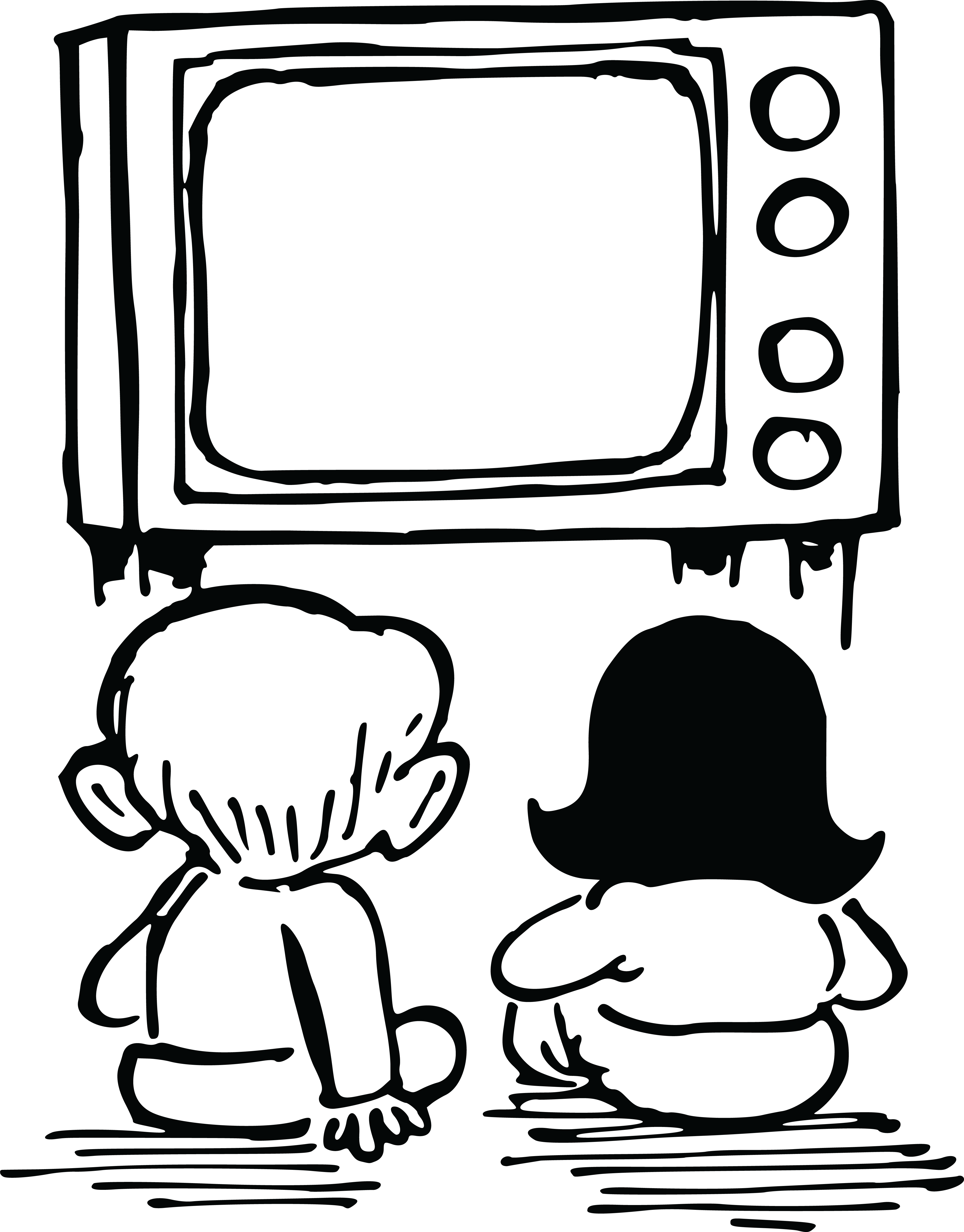 collection of watching. Television clipart outline