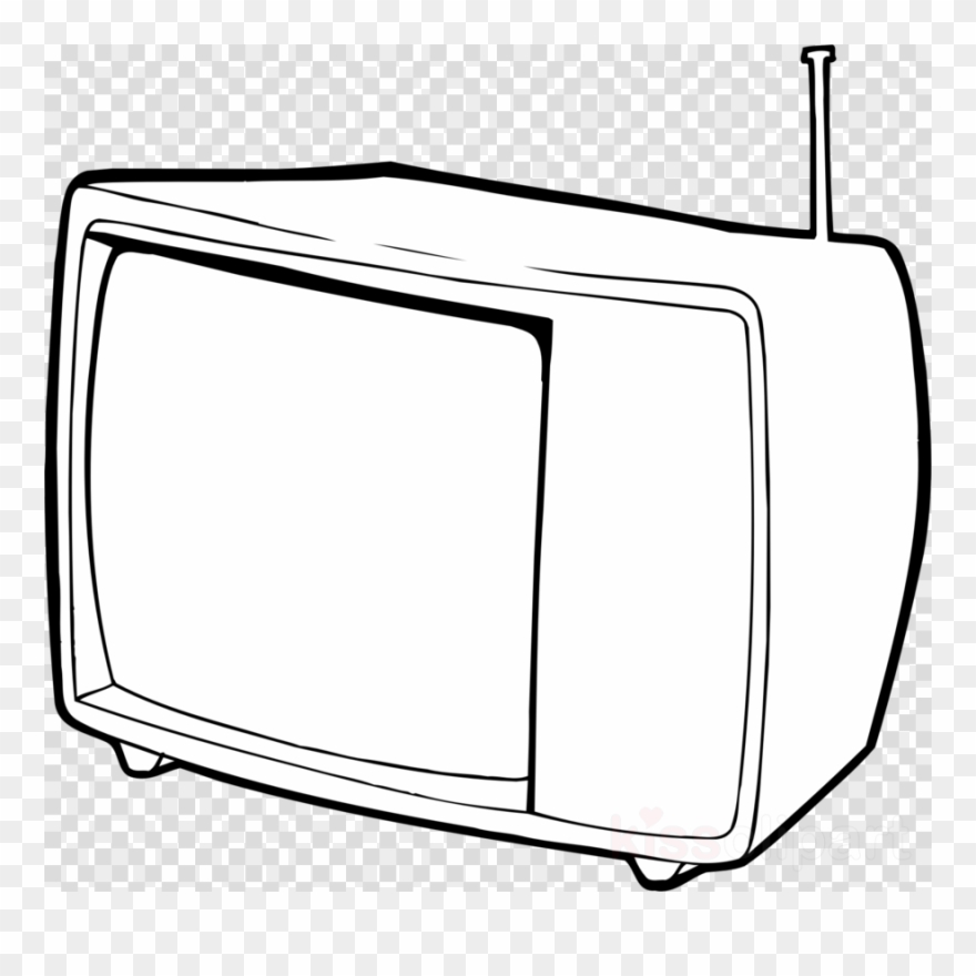 Television clipart outline. Tv black and white