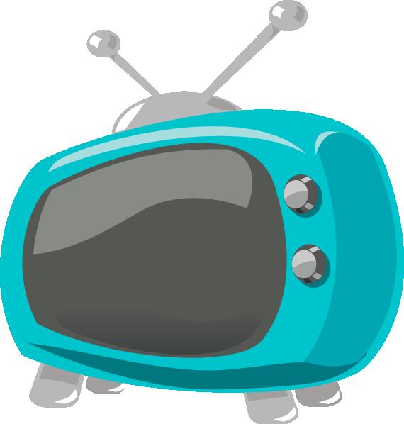 Blue retro clip art. Television clipart tv set