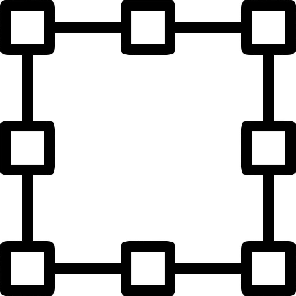Path shape points anchor. Square clipart vector black