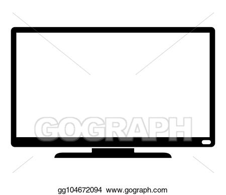 Television clipart modern. Vector illustration black tv