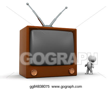 Stock illustration d character. Clipart tv small tv