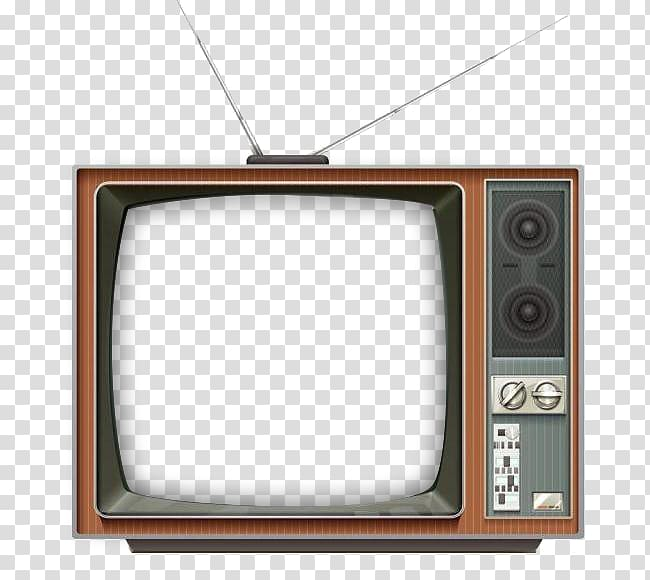 Vintage crt television drawing. Clipart tv square