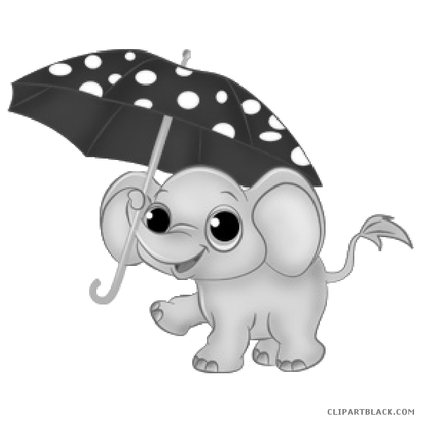 Animal free black white. Clipart umbrella baby elephant