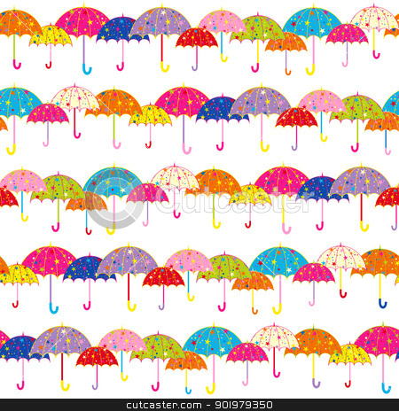 Colorful seamless pattern stock. Clipart umbrella banner
