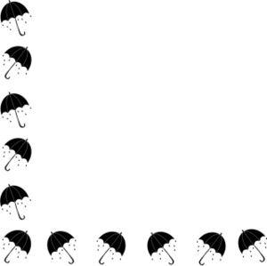 Singing in the rain. Clipart umbrella border