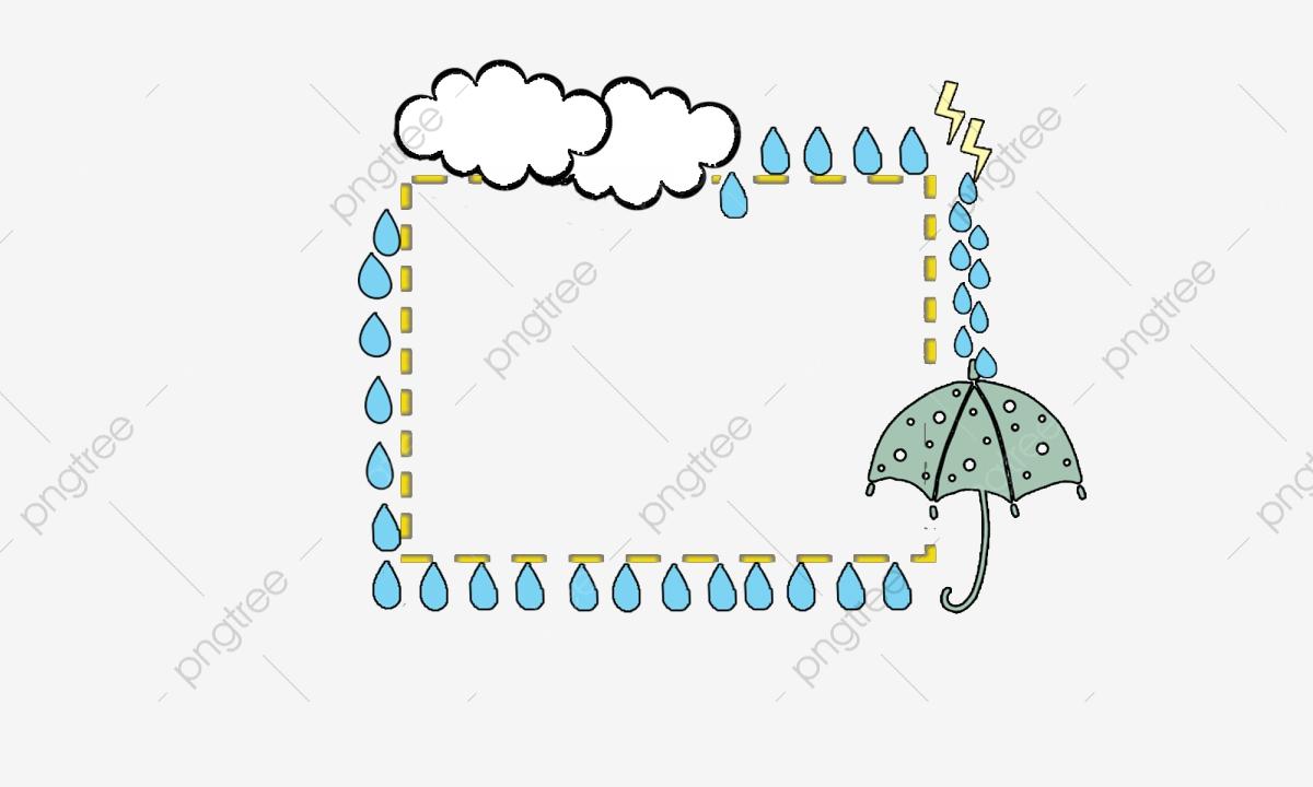 Raindrop clipart banner. Creative border cartoon umbrella