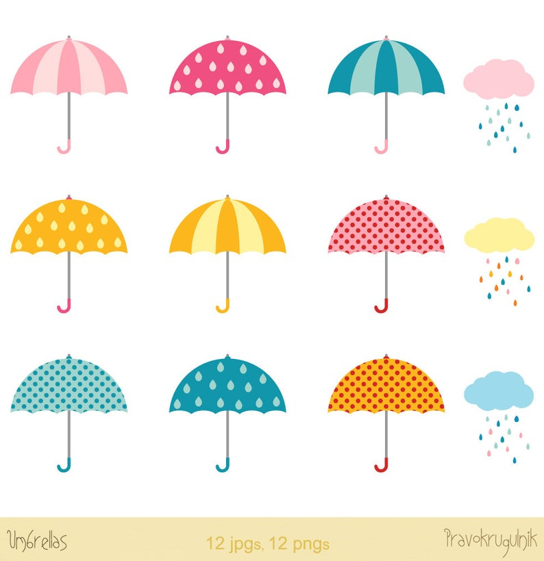 Raindrop clipart rainy day. Umbrellas clip art clouds