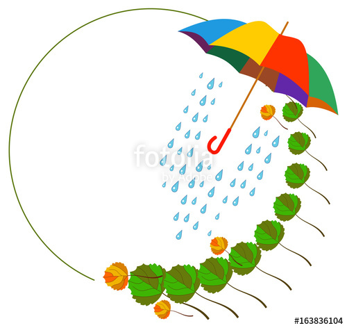 Round with fallen leaves. Clipart umbrella frame
