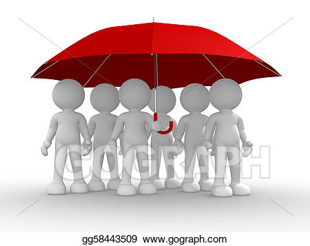 Stock illustration of people. Clipart umbrella group